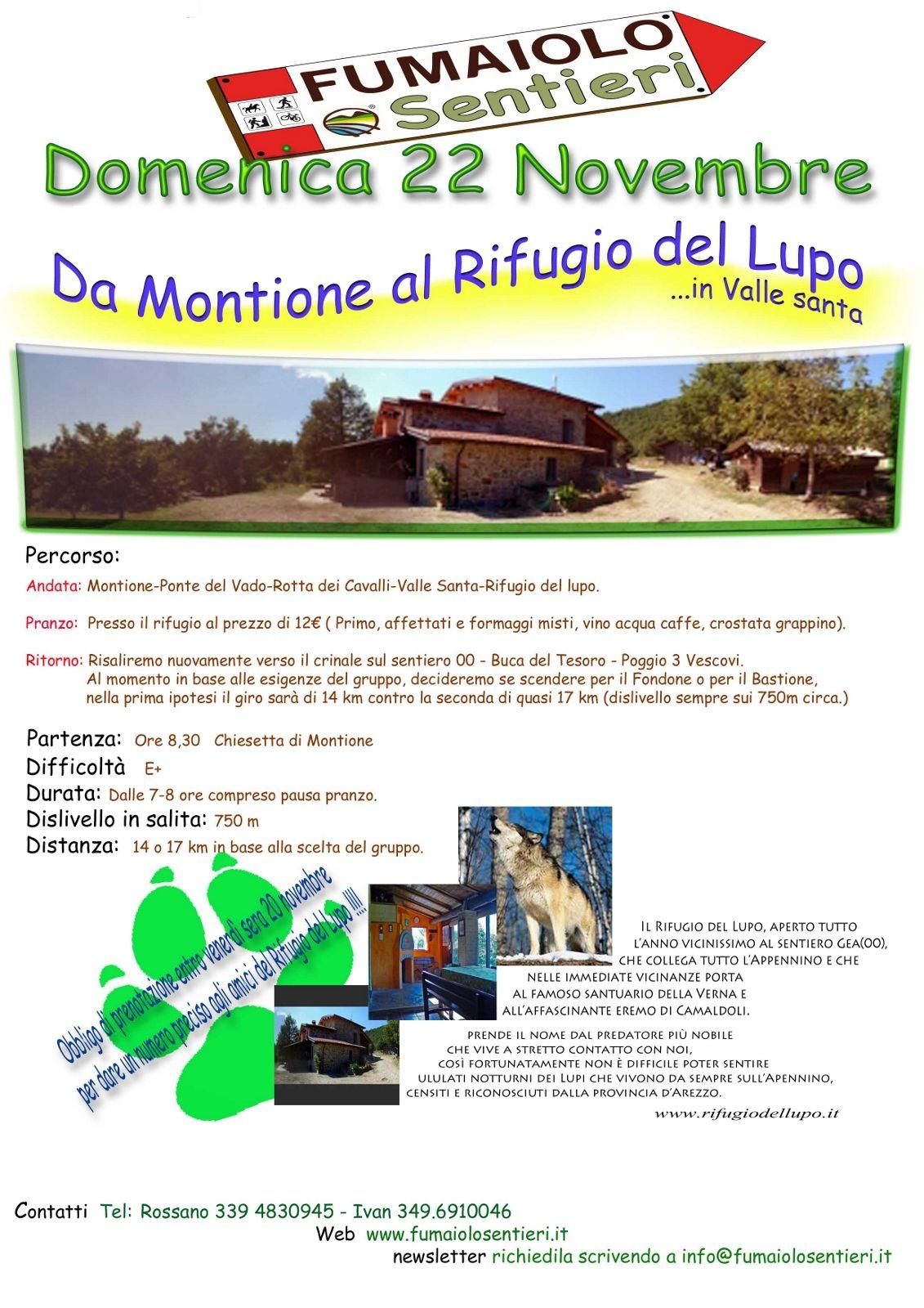 Escursione da Montione al Rifugio del Lupo – 22/11/2015